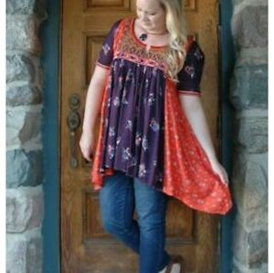 Anthropologie Floreat Embroidered Patchwork Tunic